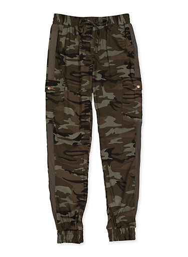 Girls 7-16 Cargo Joggers,GREEN,large