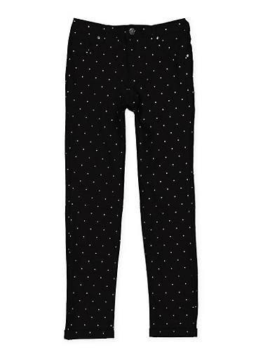 Girls 7-16 Studded Hyperstretch Pants,BLACK,large