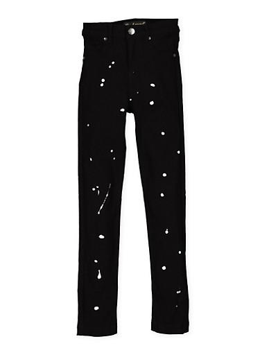 Girls 7-16 Paint Splatter Hyperstretch Jeans,BLACK,large
