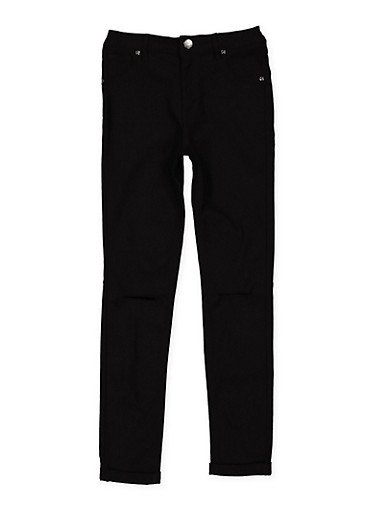 Girls 7-16 Slit Knee Hyperstretch Pants,BLACK,large