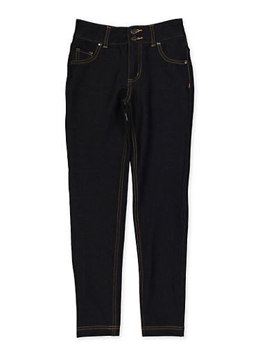 Girls 7-16 Denim Knit Straight Leg Jeggings,DARK WASH,large