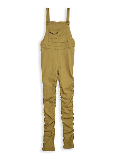 Girls 7-16 Stretch Ruched Overalls,OLIVE,large