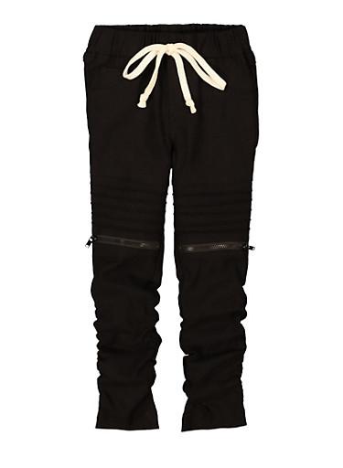 Girls Hyperstretch Moto Pants,BLACK,large