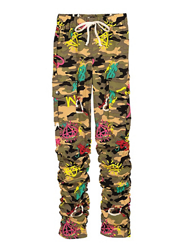 Girls Printed Hyperstretch Cargo Pants,OLIVE,large