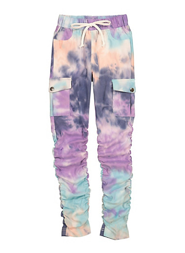 Girls Tie Dye Hyperstretch Cargo Pants,MULTI COLOR,large