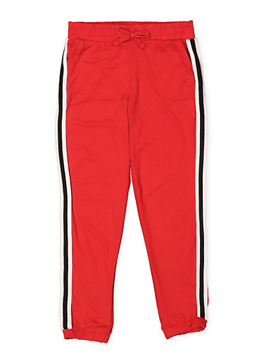 Girls 7-16 Soft Knit Striped Tape Joggers,RED,large