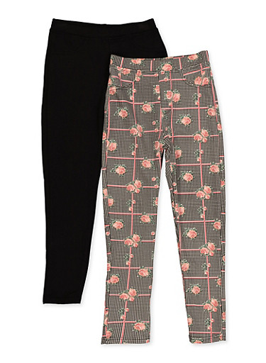 Girls 7-16 2 Pack Printed and Solid Pants,BLACK,large