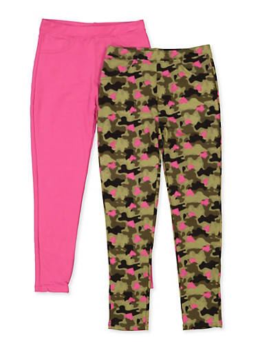 Girls 7-16 2 Pack Camo and Solid Jeggings,OLIVE,large