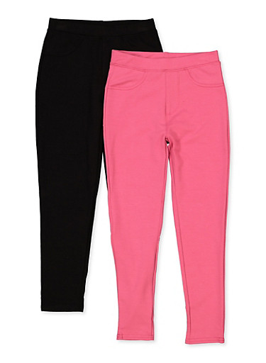 Girls 7-16 Two Pack Jeggings,PINK,large