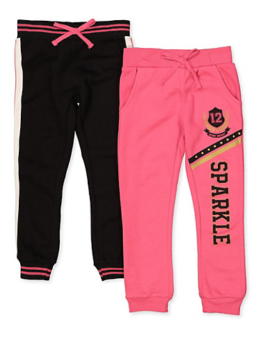 Girls 7-16 Pack of 2 Sparkle and Tape Trim Joggers,NEON PINK,large