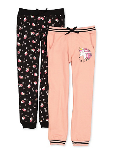 Girls 7-16 Set of 2 Unicorn Graphic Joggers,BLACK,large
