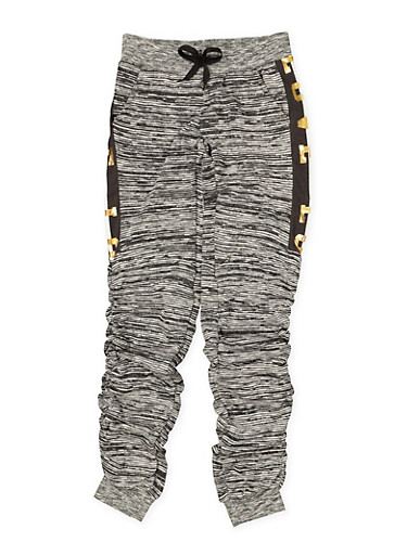 Girls 7-16 Love Foil Graphic Ruched Joggers | Black Trim,BLACK,large