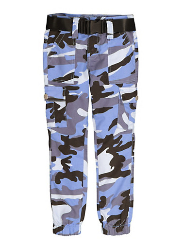 Girls Blue Camo Belted Cargo Joggers,BLUE,large