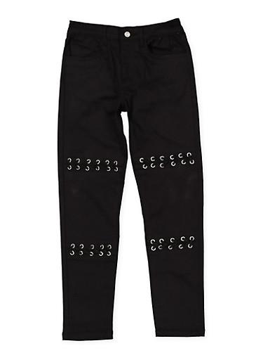 Girls 7-16 Grommet Detail Twill Pants,BLACK,large