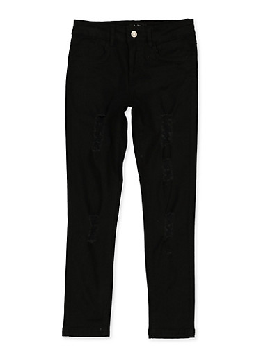 Girls 7-16 Distressed Skinny Twill Pants,BLACK,large