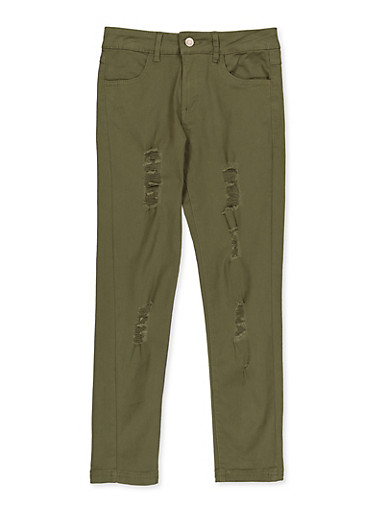 Girls 7-16 Distressed Twill Pants,OLIVE,large