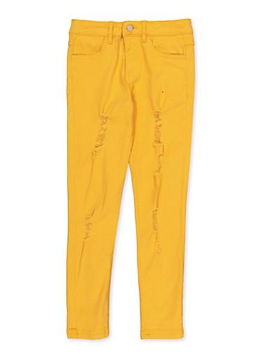 Girls 7-16 Frayed Twill Pants,MUSTARD,large