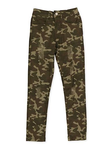 Girls 7-16 Frayed Camo Pants,GREEN,large
