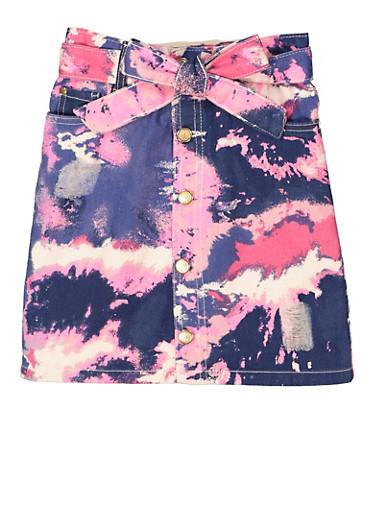 Girls Belted Tie Dye Skirt,PURPLE,large