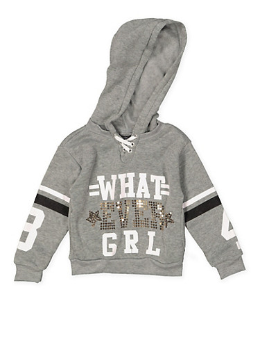 Girls 4-6x Whatever Girl Graphic Sweatshirt,HEATHER,large