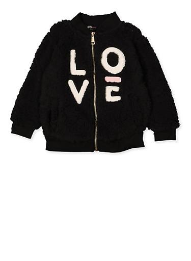 Girls 4-6x Love Sherpa Zip Sweatshirt,BLACK,large