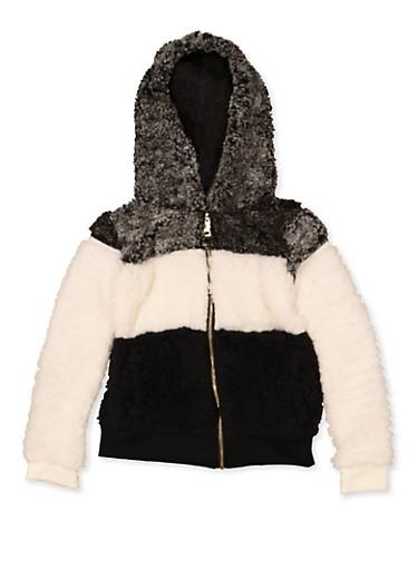 Girls 4-6x Color Block Sherpa Sweatshirt,BLACK,large