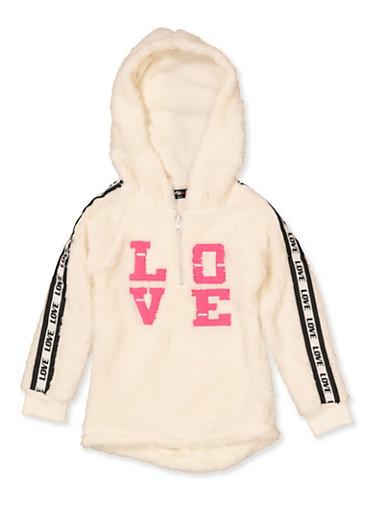 Girls 4-6x Love Tape Sherpa Sweatshirt,IVORY,large