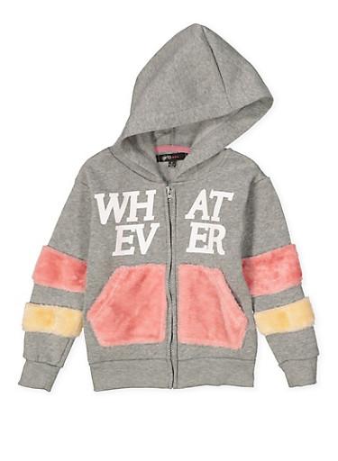 Girls 4-6x Graphic Faux Fur Trim Sweatshirt,GRAY,large