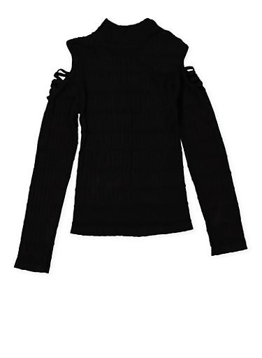 Girls 7-16 Cold Shoulder Cable Knit Sweater,BLACK,large