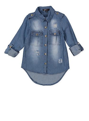 Girls 7-16 Graphic Embroidered Denim Shirt,DENIM,large