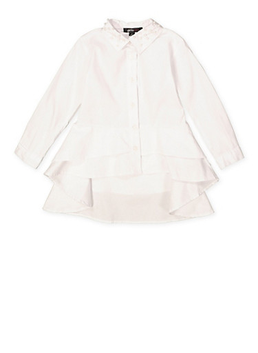 Girls 7-16 Tiered High Low Shirt,WHITE,large