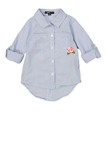Girls 7-16 Embroidered High Low Shirt with Graphic Back,WHITE/BLUE,large