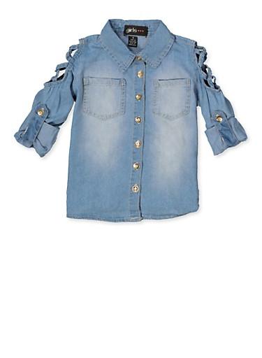 Girls 7-16 Caged Shoulder Denim Shirt,LIGHT WASH,large