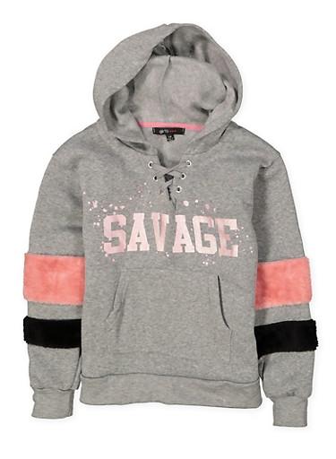 Girls 7-16 Graphic Lace Up Sweatshirt,HEATHER,large