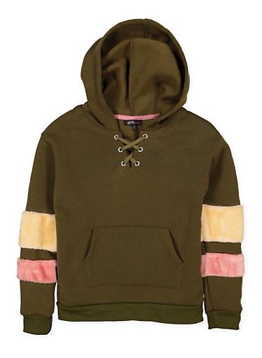 Girls 7-16 Lace Up Sweatshirt,OLIVE,large