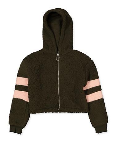 Girls 7-16 Hooded Sherpa Sweatshirt,OLIVE,large