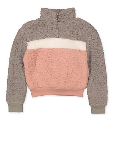 Girls 7-16 Color Block Sherpa Sweatshirt,GRAY,large