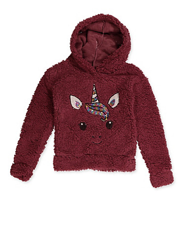 Girls 7-16 Sequin Unicorn Plush Sweatshirt | 3606061950023,WINE,large