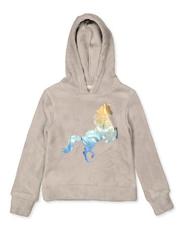Girls 7-16 Foil Unicorn Sweatshirt,SILVER,large