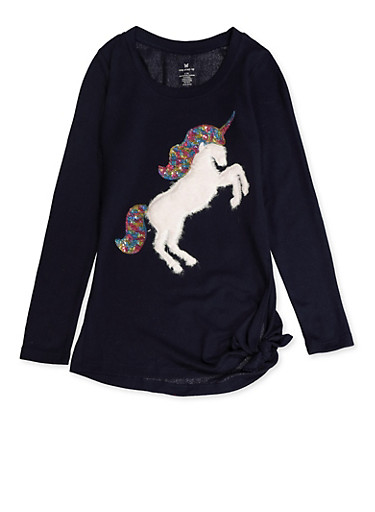 Girls 7-16 Furry Unicorn Knit Tee,NAVY,large