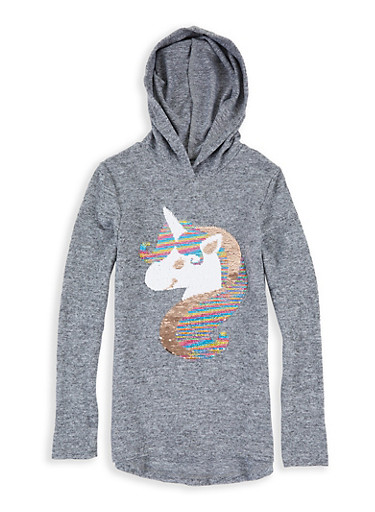 Girls 7-16 Long Sleeve Hooded Sequin Unicorn Top,HEATHER,large
