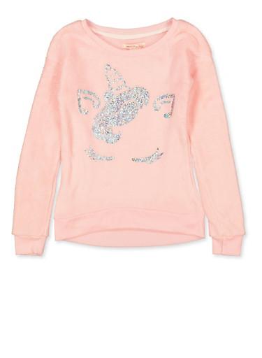 Girls 7-16 Faux Fur Glitter Unicorn Sweatshirt,BLUSH,large