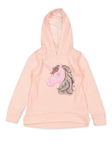 Girls 7-16 Sequin Unicorn Sweatshirt,BLUSH,large