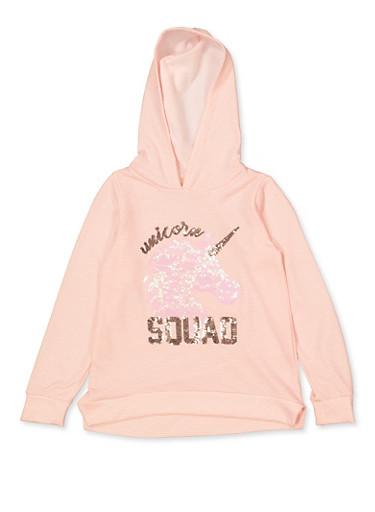 Girls 7-16 Sequin Unicorn Squad Sweatshirt,PINK,large