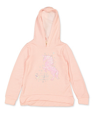 Girls 7-16 Sparkle Wherever You Go Unicorn Sweatshirt,BLUSH,large