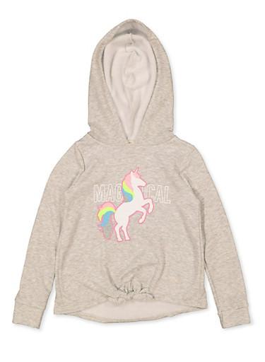 Girls 7-16 Magical Unicorn Sweatshirt,HEATHER,large