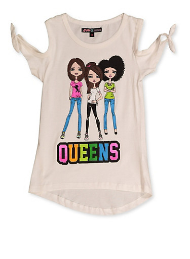 Girls 7-16 Queens Graphic Top,IVORY,large