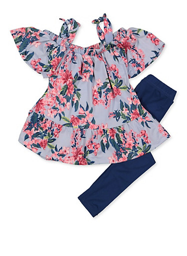 Girls 4-6x Floral Ruffle Cold Shoulder Top with Leggings,TURQUOISE,large