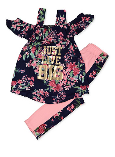 Girls 4-6x Just Live Big Floral Top with Leggings,NAVY,large