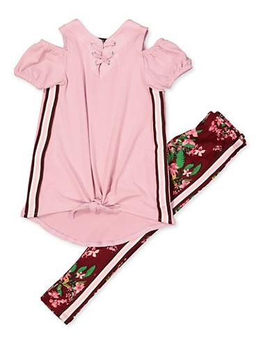 Girls 4-6x Cold Shoulder Top and Floral Leggings,MAUVE,large